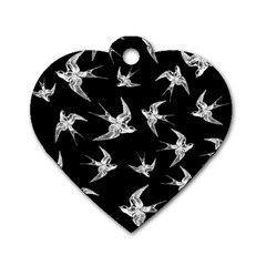 Birds Pattern Dog Tag Heart (one Side)