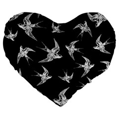Birds Pattern Large 19  Premium Flano Heart Shape Cushions