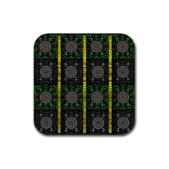 Stars And Flowers Decorative Rubber Square Coaster (4 Pack)  by pepitasart