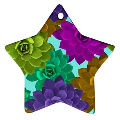 Flowers Stamping Pattern Reason Star Ornament (two Sides) by Simbadda
