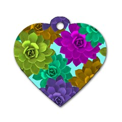 Flowers Stamping Pattern Reason Dog Tag Heart (one Side)