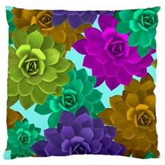 Flowers Stamping Pattern Reason Large Cushion Case (two Sides) by Simbadda
