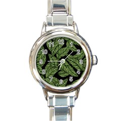 Leaves Black Background Pattern Round Italian Charm Watch