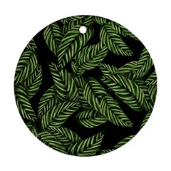 Leaves Black Background Pattern Ornament (round) by Simbadda