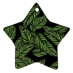 Leaves Black Background Pattern Ornament (star)