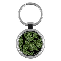 Leaves Black Background Pattern Key Chains (round)  by Simbadda