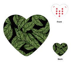 Leaves Black Background Pattern Playing Cards (heart) by Simbadda