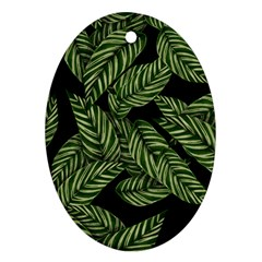 Leaves Black Background Pattern Oval Ornament (two Sides)