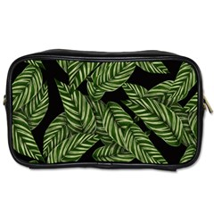 Leaves Black Background Pattern Toiletries Bag (two Sides) by Simbadda