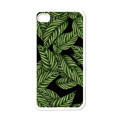 Leaves Black Background Pattern Apple Iphone 4 Case (white)