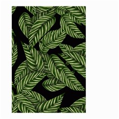 Leaves Black Background Pattern Small Garden Flag (two Sides) by Simbadda