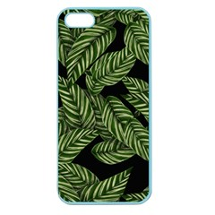 Leaves Black Background Pattern Apple Seamless Iphone 5 Case (color)