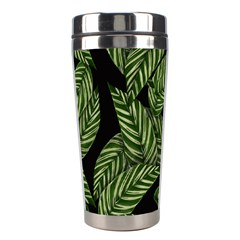 Leaves Black Background Pattern Stainless Steel Travel Tumblers