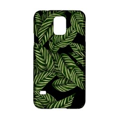 Leaves Black Background Pattern Samsung Galaxy S5 Hardshell Case