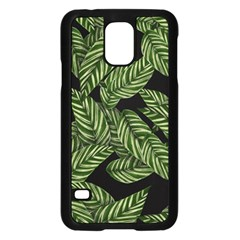 Leaves Black Background Pattern Samsung Galaxy S5 Case (black) by Simbadda