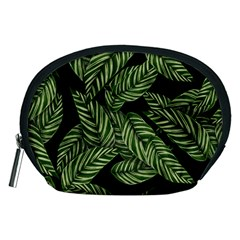 Leaves Black Background Pattern Accessory Pouch (medium) by Simbadda