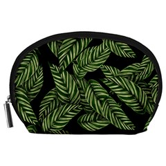 Leaves Black Background Pattern Accessory Pouch (large) by Simbadda
