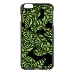 Leaves Black Background Pattern Apple Iphone 6 Plus/6s Plus Black Enamel Case