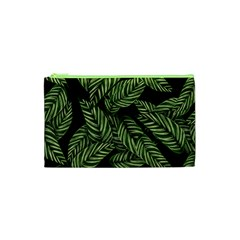 Leaves Black Background Pattern Cosmetic Bag (xs)