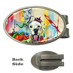 Wall Girl Dog Graphite Street Art Money Clips (oval)  by Simbadda