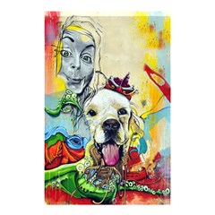 Wall Girl Dog Graphite Street Art Shower Curtain 48  X 72  (small)  by Simbadda