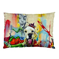 Wall Girl Dog Graphite Street Art Pillow Case (two Sides) by Simbadda