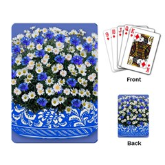 Marguerite Cornflower Vase Blossom Playing Cards Single Design by Simbadda