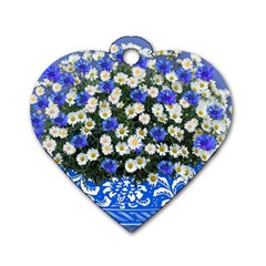 Marguerite Cornflower Vase Blossom Dog Tag Heart (one Side)