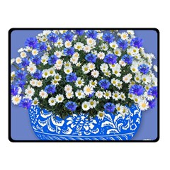 Marguerite Cornflower Vase Blossom Fleece Blanket (small) by Simbadda