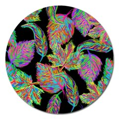 Autumn Pattern Dried Leaves Magnet 5  (round) by Simbadda