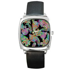 Autumn Pattern Dried Leaves Square Metal Watch by Simbadda