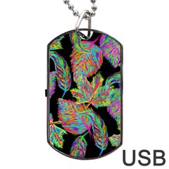 Autumn Pattern Dried Leaves Dog Tag Usb Flash (two Sides) by Simbadda