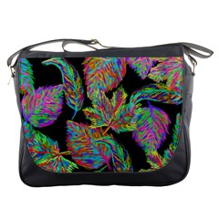 Autumn Pattern Dried Leaves Messenger Bag by Simbadda