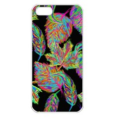 Autumn Pattern Dried Leaves Apple Iphone 5 Seamless Case (white) by Simbadda