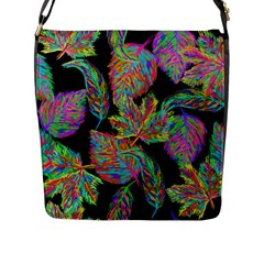 Autumn Pattern Dried Leaves Flap Closure Messenger Bag (l) by Simbadda