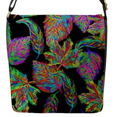 Autumn Pattern Dried Leaves Flap Closure Messenger Bag (s) by Simbadda