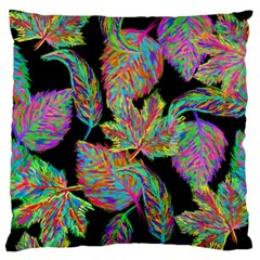 Autumn Pattern Dried Leaves Large Flano Cushion Case (two Sides) by Simbadda