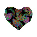 Autumn Pattern Dried Leaves Standard 16  Premium Flano Heart Shape Cushions Front