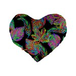 Autumn Pattern Dried Leaves Standard 16  Premium Flano Heart Shape Cushions Back