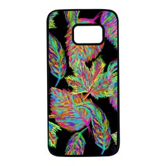 Autumn Pattern Dried Leaves Samsung Galaxy S7 Black Seamless Case by Simbadda
