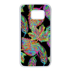 Autumn Pattern Dried Leaves Samsung Galaxy S7 White Seamless Case by Simbadda