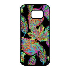 Autumn Pattern Dried Leaves Samsung Galaxy S7 Edge Black Seamless Case by Simbadda
