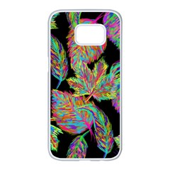 Autumn Pattern Dried Leaves Samsung Galaxy S7 Edge White Seamless Case by Simbadda