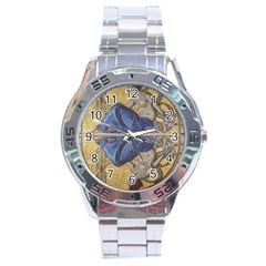 Mosaic Painting Glass Decoration Stainless Steel Analogue Watch