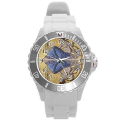 Mosaic Painting Glass Decoration Round Plastic Sport Watch (l)