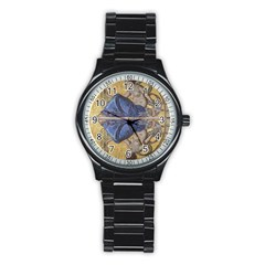 Mosaic Painting Glass Decoration Stainless Steel Round Watch
