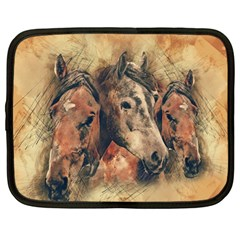 Head Horse Animal Vintage Netbook Case (large) by Simbadda