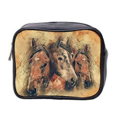 Head Horse Animal Vintage Mini Toiletries Bag (two Sides)