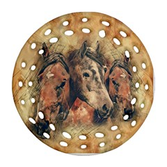 Head Horse Animal Vintage Round Filigree Ornament (two Sides)