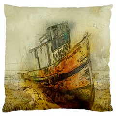 Boat Old Fisherman Mar Ocean Large Cushion Case (two Sides)